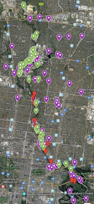 Map with pins showing sightings of Swamp Wallabies along and near to Merri Creek.